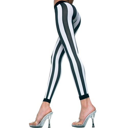 Leggings vertikal gestreift - schwarz/ weiß