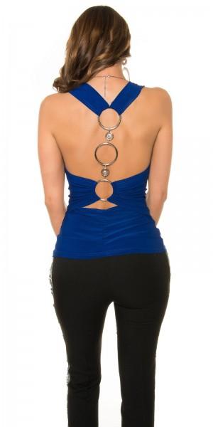 Necktop mit Wasserfallschnitt - blau